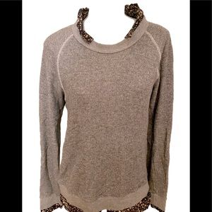 American Colors Sweater Top -L gray / floral shirt